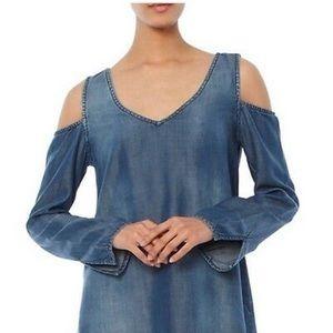 Cloth & Stone Denim Cold Shoulder Long Sleeve Top